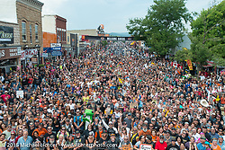 Group photo of the crowd on Main Street as arranged by Bob Davis during the  75th Annual Sturgis Black Hills Motorcycle Rally.  SD, USA.  August 4, 2015.  Photography ©2015 Michael Lichter.