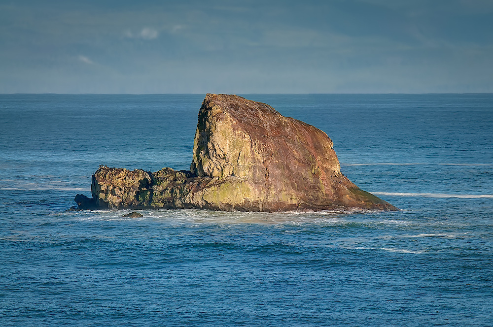 Standing in the Strait of Juan de Fuca, Seal Rock is a favorite resting place for various species of seals, sea lions and seabirds on the on the Makah Indian Reservation near the Northwestern tip of Washington State.