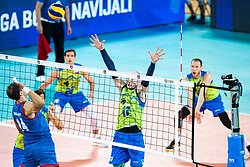 Ziga Stern of Slovenia in block during friendly volleyball match between Slovenia and Serbia in Arena Stozice on 2nd of September, 2019, Ljubljana, Slovenia. Photo by Grega Valancic / Sportida