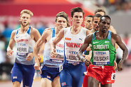 Josh Kerr (Great Britain), Jake Wightman (Great Britain), Jakob Ingebrigsten (Norway), Marcin Lewandowski (Poland), Youssouf Hiss Bachir (Djibouti), 1500 Metres Men Final, during the 2019 IAAF World Athletics Championships at Khalifa International Stadium, Doha, Qatar on 6 October 2019.