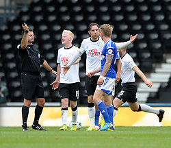 Derby County's Richard Keogh loses his temper with Ipswich Town's Luke Hyam - Photo mandatory by-line: Dougie Allward/JMP - Mobile: 07966 386802 30/08/2014 - SPORT - FOOTBALL - Derby - iPro Stadium - Derby County v Ipswich Town - Sky Bet Championship