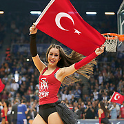 Anadolu Efes's show girls during their Turkish Airlines Euroleague Basketball PlayOffs Round 3 match Anadolu Efes between Real Madrid at Abdi ipekci arena in Istanbul, Turkey, Tuesday April 21, 2015. Photo by Aykut AKICI/TURKPIX
