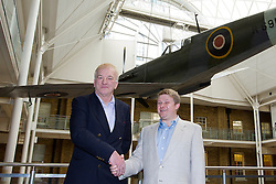 © Licensed to London News Pictures. 28/11/12. London, UK. Aviation archeologist David Cundall (L) and Victor Kislyi, the CEO of computer games firm Wargaming, are seen after a press conference at the Imperial War Museum in London today (28/11/12) ahead of an expedition to Burma to uncover up to 36 Supermarine Spitfire fighter aircraft thought to be buried by the British RAF when they left the country. Mr Cundall, a farmer by profession, is leading the expedition in January of 2013 with backing from Wargaming and the University of Leeds. Photo credit: Matt Cetti-Roberts/LNP