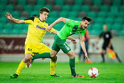 Rok Jazbec of Radomlje vs Andraz Kirm of NK Olimpija during football match between NK Olimpija Ljubljana and NK Kalcer Radomlje in Round #29 of Prva liga Telekom Slovenije 2016/17, on April 17, 2017 in SRC Stozice, Ljubljana, Slovenia. Photo by Vid Ponikvar / Sportida