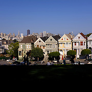 The Painted Ladies homes are seen from Alamo Square Park in San Francisco, California on March 3, 2014. (AP Photo/Alex Menendez)