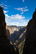 Canyon framed by a gap between Island Peaks, Black Canyon of the Gunnison National Park, Colorado.