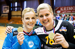 Aneta Benko of RK Krim Mercator and Misa Marincek of RK Krim Mercator celebrate after the handball match between RK Krim Mercator and ZRK Z'Dezele Celje in Last Round of Slovenian National Championship 2016/17, on April 18, 2017 in Arena Galjevica, Ljubljana, Slovenia. Photo by Vid Ponikvar / Sportida