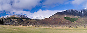 Panoramic view of the Dismal Valley, Glynn Wye Range and the Organ Range, Canterbury, New Zealand; June 2013