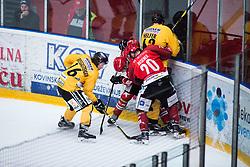 AVSENEK Rok vs Armin Helfer during Alps Hockey League match between HC Pustertal and HDD SIJ Jesenice, on April 3, 2019 in Ice Arena Podmezakla, Jesenice, Slovenia. Photo by Peter Podobnik / Sportida