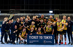 Team of Sweden celebrate with a ticket to Tokyo after winning during handball match between National Teams of Sweden and Slovenia at Day 3 of IHF Men's Tokyo Olympic  Qualification tournament, on March 14, 2021 in Max-Schmeling-Halle, Berlin, Germany. Photo by Vid Ponikvar / Sportida