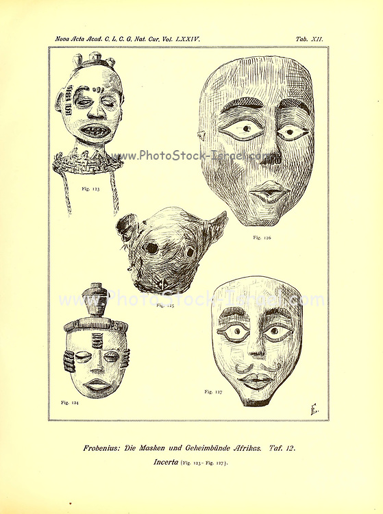 Masks from the German Book ' Die Masken und Geheimbünde Afrikas ' [The masks and secret societies of Africa] Published in Leipzig, Germany in 1898