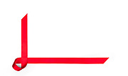 Red streamer ribbon on white background