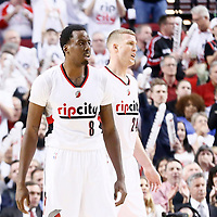 25 April 2016: Portland Trail Blazers forward Al-Farouq Aminu (8) is seen next to Portland Trail Blazers center Mason Plumlee (24) during the Portland Trail Blazers 98-84 victory over the Los Angeles Clippers, during Game Four of the Western Conference Quarterfinals of the NBA Playoffs at the Moda Center, Portland, Oregon, USA.