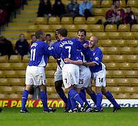 Photo. Glyn Thomas.<br /> Bradford v Ipswich. Nationwide Division 1.<br /> Bradford & Bingley Stadium, Bradford. 11/10/03.<br /> Ipswich's Alan Mahon is mobbed by teammates after scoring his side's first half goal.