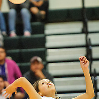 110812  Adron Gardner<br /> <br /> Wingate Bear Gervana Begay (4) times a spike to the Bloomfield Bobcats in Wingate Thursday.