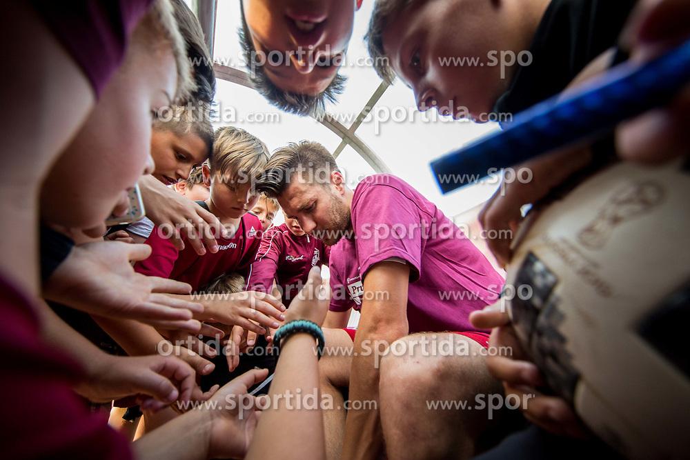 Rok Elsner of Triglav with young fans after winning during 2nd Leg football match between NK Triglav Kranj and NS Drava Ptuj in Qualifications of Prva Liga Telekom Slovenije 2018/19, on June 6, 2018 in Kranj, Slovenia. Photo by Vid Ponikvar / Sportida
