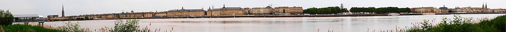 Very wide panorama across the river Garonne over the city of Bordeaux with the riverside key city Bordeaux Gironde Aquitaine France