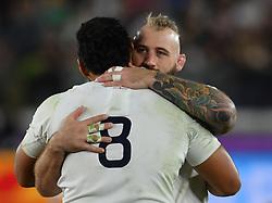 England's Joe Marler with Billy Vunipola after the 2019 Rugby World Cup final match at Yokohama Stadium.