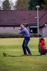 Pictured: <br />Scottish Liberal Democrat Leader Willie Rennie took some time to perfect his swing ahead of the Scottish elections at Cluny Activities in Fife today.  Mr Rennie was pitching to voters who voted for Ruth Davidson at the last election o switch to the Liberal Democrats. <br /><br />Ger Harley | EEm 19 April 2021
