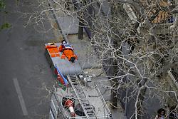 April 29, 2018 - Baku, Azerbaijan - Motorsports: World Championship; 2018; Grand Prix Azerbaijan, Grand Prix of Europe, Formula 1 2018 Azerbaijan Grand Prix, Workingman sleeping  (Credit Image: © Hoch Zwei via ZUMA Wire)