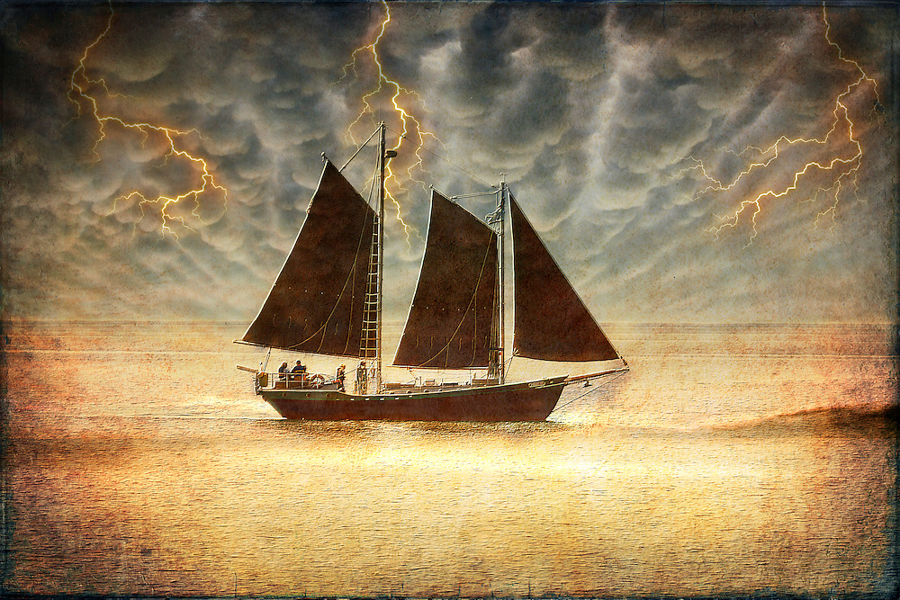 We Set To Sea, Sailing Through Stormy Weather In A Golden Glow, Cast From An Angered God - Shot near Grand Marais, Minnesota