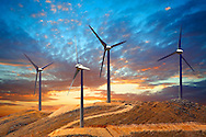 Wind farm on  Kefalonia, Ionian Islands, Greece.