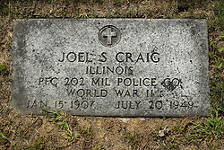 31 August 2017:   Veterans graves in Park Hill Cemetery in eastern McLean County.<br /> <br /> Joel S Craig  Illinois Private First Class 202 MIL Police Co World War II  Jan 15 1907  Juy 20 1949