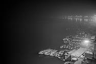 Banks of the River Ganges at night, Varanasi, Uttar Pradesh, India