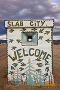 Entrance to Slab City, home to a large community of squatters near Niland, California.