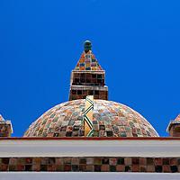 South America, Bolivia, Copacabana. Basilica of Our Lady of Copacabana dome roof.