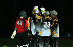 Ferisco Adams of Boland is congratulated for bowling Colin Ackermann of Eastern Province during the Africa T20 cup pool D match between Boland and Eastern Province held at the Boland Park cricket ground in Paarl on the 24th September 2016.<br /> <br /> Photo by: Shaun Roy/ RealTime Images