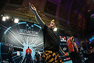 Peter Wright takes to the stage during the BetVictor World Matchplay Darts 2018 sem final at Winter Gardens, Blackpool, United Kingdom on 28 July 2018. Picture by Shane Healey.