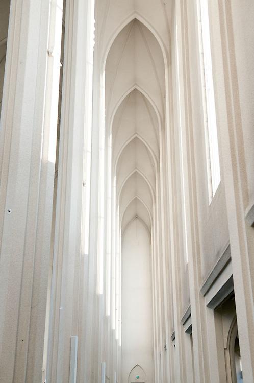Interior Hallgrímskirkja church, Reykjavik, Iceland.