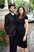 Cover onthulling Vogue The Book in het Amstel Hotel, Amsterdam.<br /> <br /> op de foto:  Anna Drijver ( zwanger ) en partner Benja Bruijning