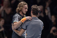 Tennis - 2019 Nitto ATP Finals at The O2 - Day Eight<br /> <br /> Singles Final : Stefanos Tsitsipas (Greece) Vs. Dominic Thiem (Austria)<br /> <br /> Stefanos Tsitsipas (Greece) commiserates with Dominic Thiem (Austria) at the end of the game <br /> <br /> COLORSPORT/DANIEL BEARHAM