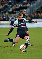 Photo: Ian Hebden.<br />Bedford Blues v Harlequins. National League Division 1.<br />03/12/2005.<br />Bedford full back Mark Harris converts a penalty.