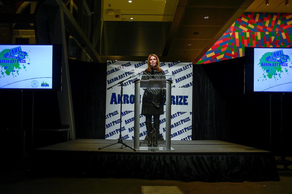 Suzie Graham, DAP president, address crowd at the finale reception of Akron Art Prize 2015