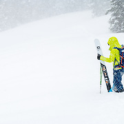 Forrest Jillson skins to the powder motherload during a major winter storm cycle.