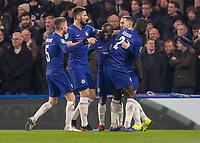 Football - 2018 / 2019 EFL Carabao Cup (League Cup) - Semi-Final, Second Leg: Chelsea (0) vs. Tottenham Hotspur (1)<br /> <br /> Chelsea players congratulate goal scorer Eden Hazard (Chelsea FC)  at Stamford Bridge <br /> <br /> COLORSPORT/DANIEL BEARHAM