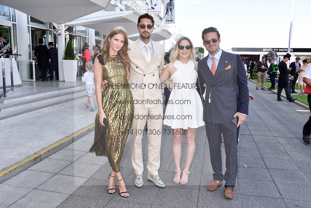 Left to right, Millie Mackintosh, Hugo Taylor, Alice Mackintosh and Spencer Mathews at The Investec Derby, Epsom, Surrey England. 3 June 2017.<br /> Photo by Dominic O'Neill/SilverHub 0203 174 1069 sales@silverhubmedia.com