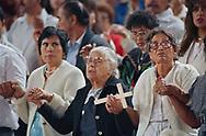 Pope John Paul II made his historic tour to the United States, September 10-18, 1987, visiting Miami, Florida; Columbia, SC; New Orleans, LA; San Antonio, TX, Phoenix, AZ, Los Angeles, CA; Monterrey, CA, San Francisco, CA, and Detroit, MI. <br /> <br /> Los Angeles faithful. Dodger stadium.