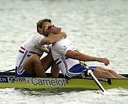 2002 World Rowing Championships - Seville - Spain, GBR M2-, James Cracknell left and Matt Pinsent celebrate after winning the men's pair final at the World Rowing Championship,  held on the the Rio Guadalquiver course.  .© Photo Peter Spurrier, 21/09/2002. [Mandatory Credit: Peter SPURRIER/Intersport Images]<br /> <br /> 20020921 World Rowing Championships Seville, SPAIN