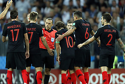 (l-r) Mario Mandzukic of Croatia, Ivan Rakitic of Croatia, referee Mark Geiger, Luka Modric of Croatia, Dejan Lovren of Croatia, Sime Vrsaljko of Croatia during the 2018 FIFA World Cup Russia Semi Final match between Croatia and England at the Luzhniki Stadium on July 01, 2018 in Moscow, Russia