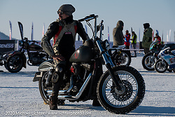 Mikhail Lyubimov on his spiked Harley-Davidson fitted for the ice at the Baikal Mile Ice Speed Festival. Maksimiha, Siberia, Russia. Friday, February 28, 2020. Photography ©2020 Michael Lichter.