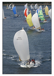 The third days racing at the Bell Lawrie Yachting Series in Tarbert Loch Fyne ..Perfect conditions finally arrived for competitors on the three race courses...GBR6942R Bavaria Match 42 Sidney helmed by Hamish McKay .