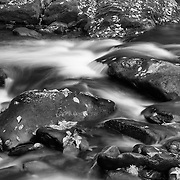 Lower Tremont Creek Cascade Rocks - Great Smoky Mountains - Autumn - Black & White
