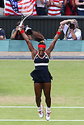 Serena Williams celebrates after winning the women's singles final at Wimbledon during the 2012 London Olympics.