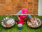 26 AUGUST 2015 - BANGKOK, THAILAND:  A fish monger sells dried fish out of a basket on a residential street off of Ekkamai in Bangkok.     PHOTO BY JACK KURTZ
