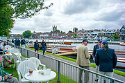 Henley-On-Thames, Berkshire, UK.,Sunday, 15.08.21,   View from The Bridge Bar2021 Henley Royal Regatta, Henley , towards Henley Bridge the `church and town,  Henley Reach, River Thames, Thames Valley,  [Mandatory Credit © Peter Spurrier/Intersport Images], Finals' Day,