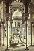 Patio de Los Leones (Cour des Lions) [Peacocks at Courtyard of the Lions The Alhambra, Granada, Andalusia, Spain] Page illustration from the book 'L'Espagne' [Spain] by Davillier, Jean Charles, barón, 1823-1883; Doré, Gustave, 1832-1883; Published in Paris, France by Libreria Hachette, in 1874